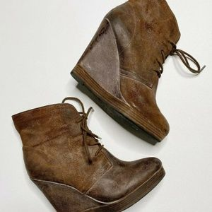 Michael Kors Brown Leather Wedge Ankle Boots